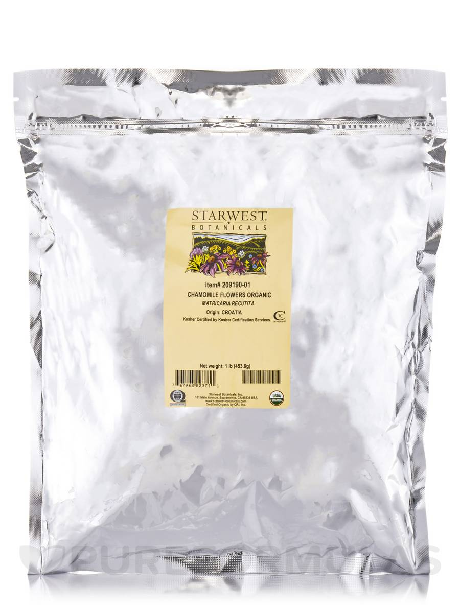 Organic Chamomile Whole Flowers - 1 lb (453.6 Grams)