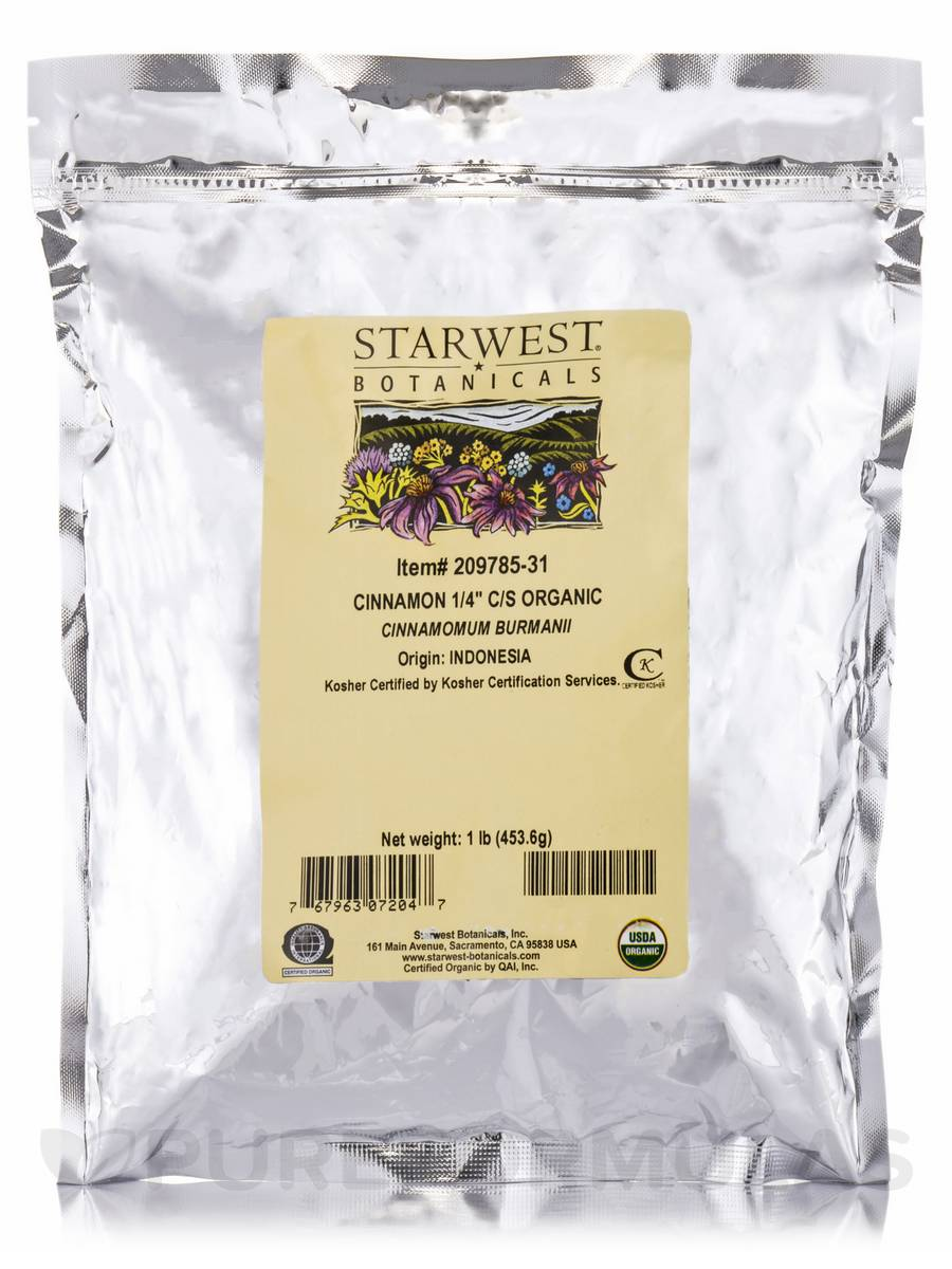 Organic Cinnamon (1/4 in) Cut & Sift - 1 lb (453.6 Grams)