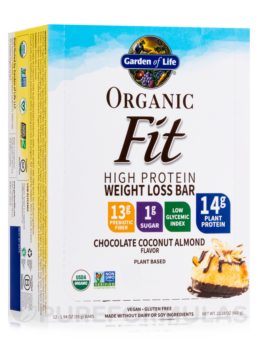 Organic Fit High Protein Weight Loss Bar, Chocolate Coconut Almond - Box of 12 Bars (1.9 oz / 55 Grams Each)