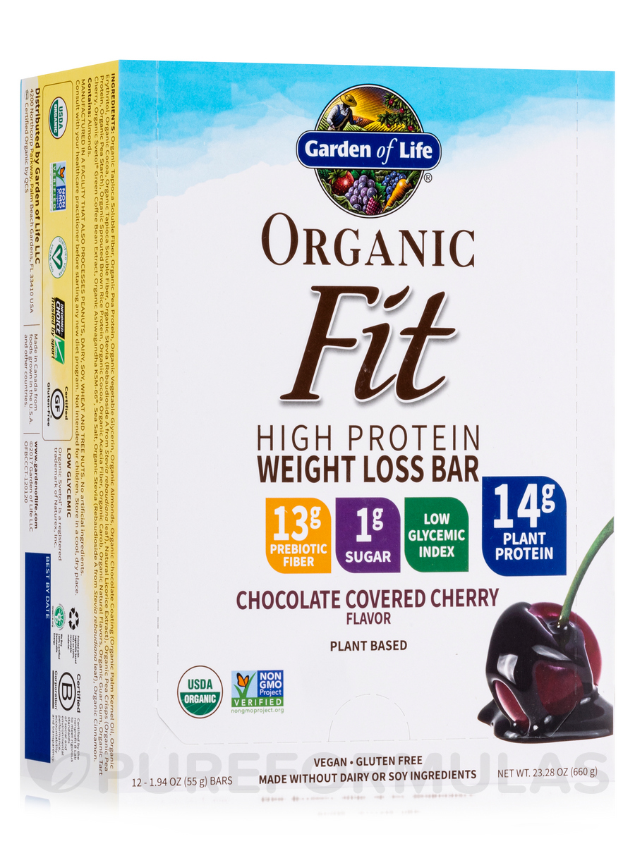 Organic Fit High Protein Weight Loss Bar, Chocolate Covered Cherry - Box of 12 Bars (1.9 oz / 55 Grams Each)
