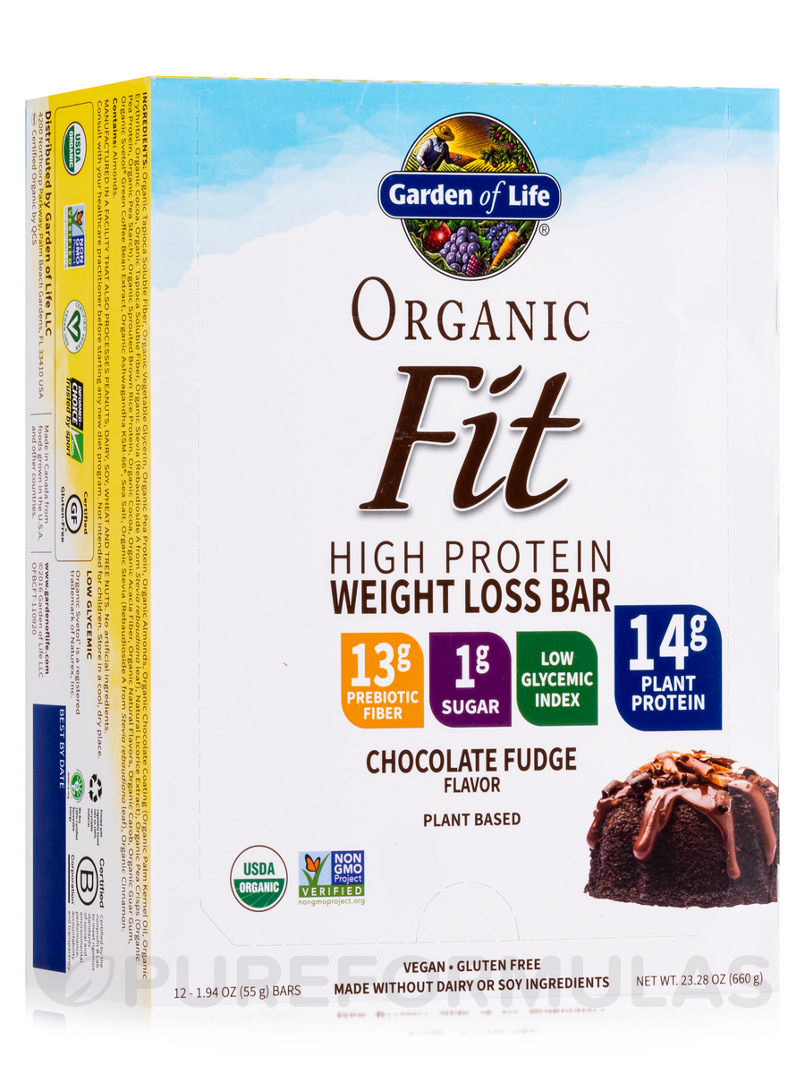 garden of life weight loss. Organic Fit High Protein Weight Loss Bar, Chocolate Fudge - Box Of 12 Bars (1.9 Oz / 55 Grams Garden Life A