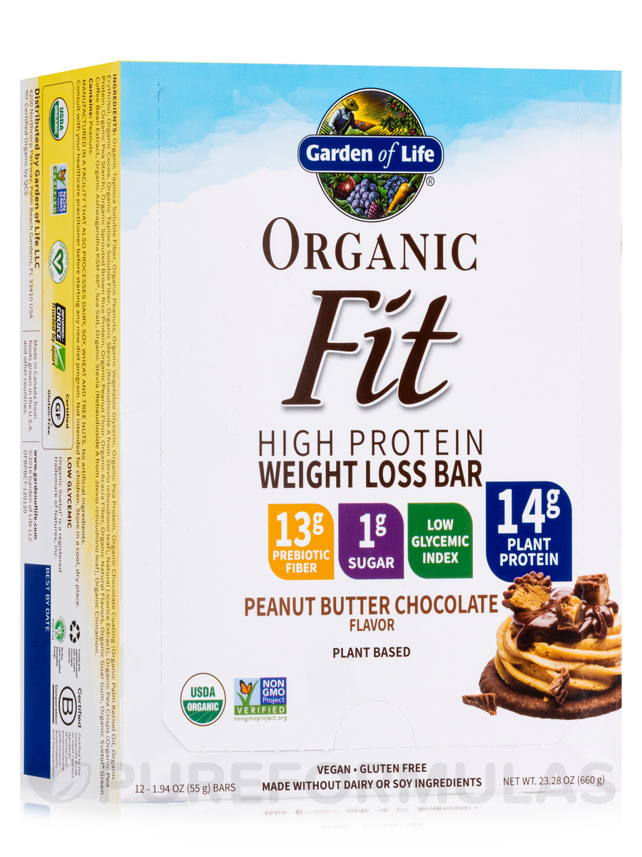 Organic Fit High Protein Weight Loss Bar, Peanut Butter Chocolate - Box of 12 Bars (1.9 oz / 55 Grams Each)