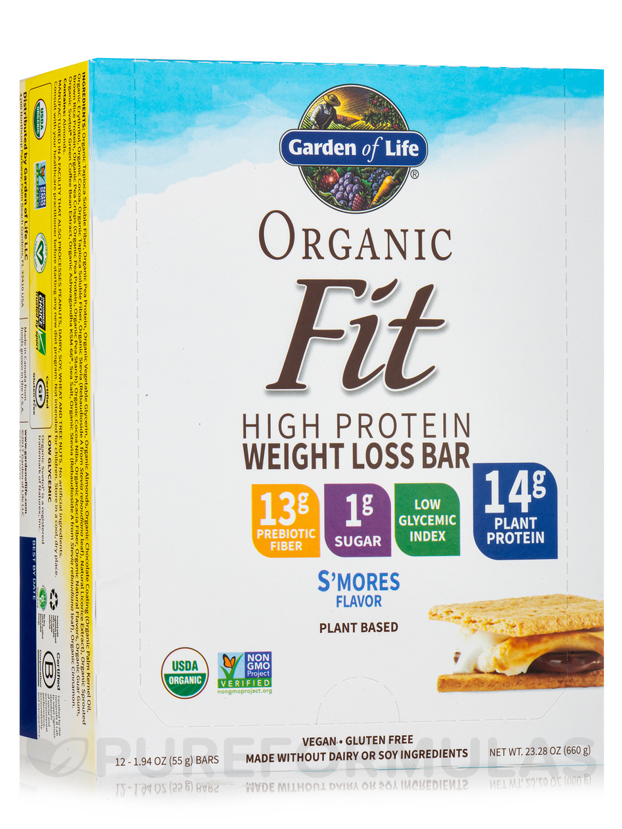 Organic Fit High Protein Weight Loss Bar, S'mores - Box of 12 Bars (1.9 oz / 55 Grams Each)
