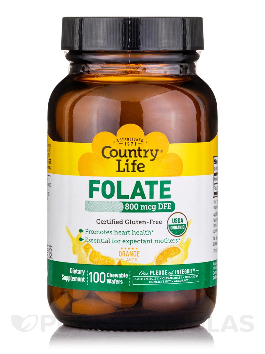 Organic Folate 800 mcg (Orange Flavor) - 100 Chewable Wafers