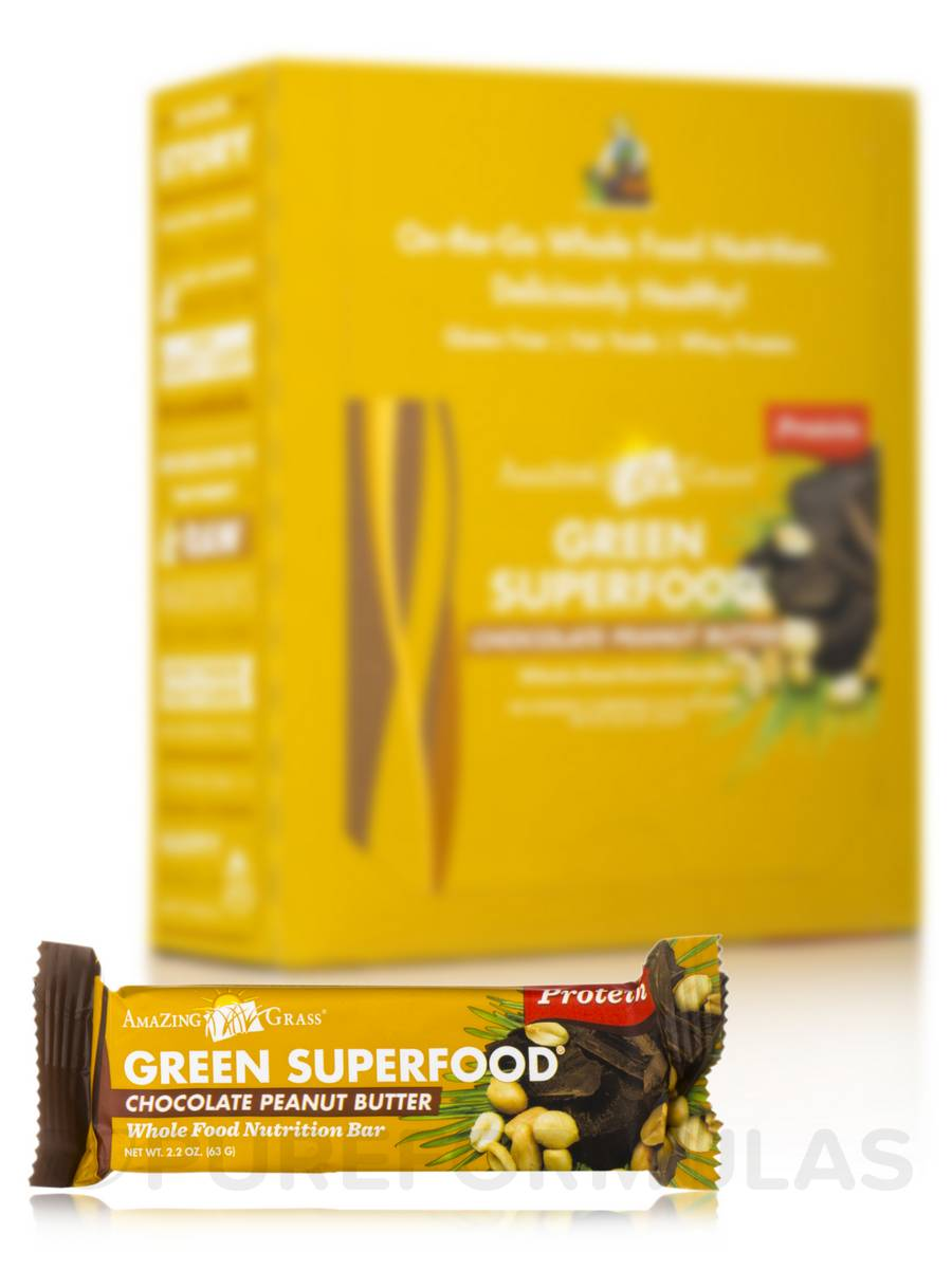 Green SuperFood® Chocolate Peanut Butter Protein Bar - Box of 12 Bars (2.2 oz / 63 Grams each)