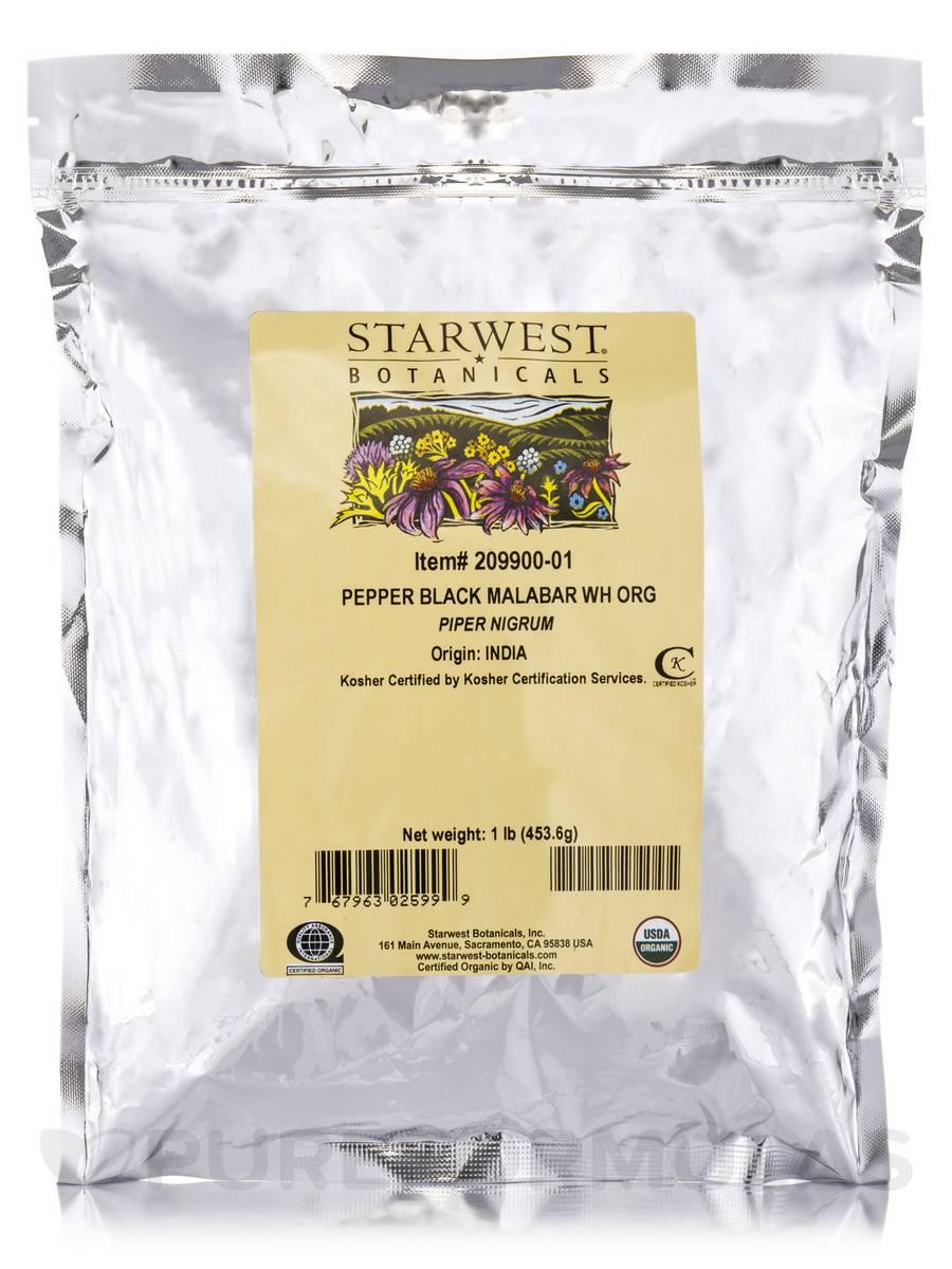 Organic Malabar Whole Black Pepper - 1 lb (453.6 Grams)