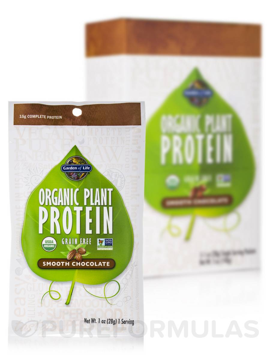 Organic Plant Protein Smooth Chocolate Box Of 5 Packets 1 Oz 28 Grams Each