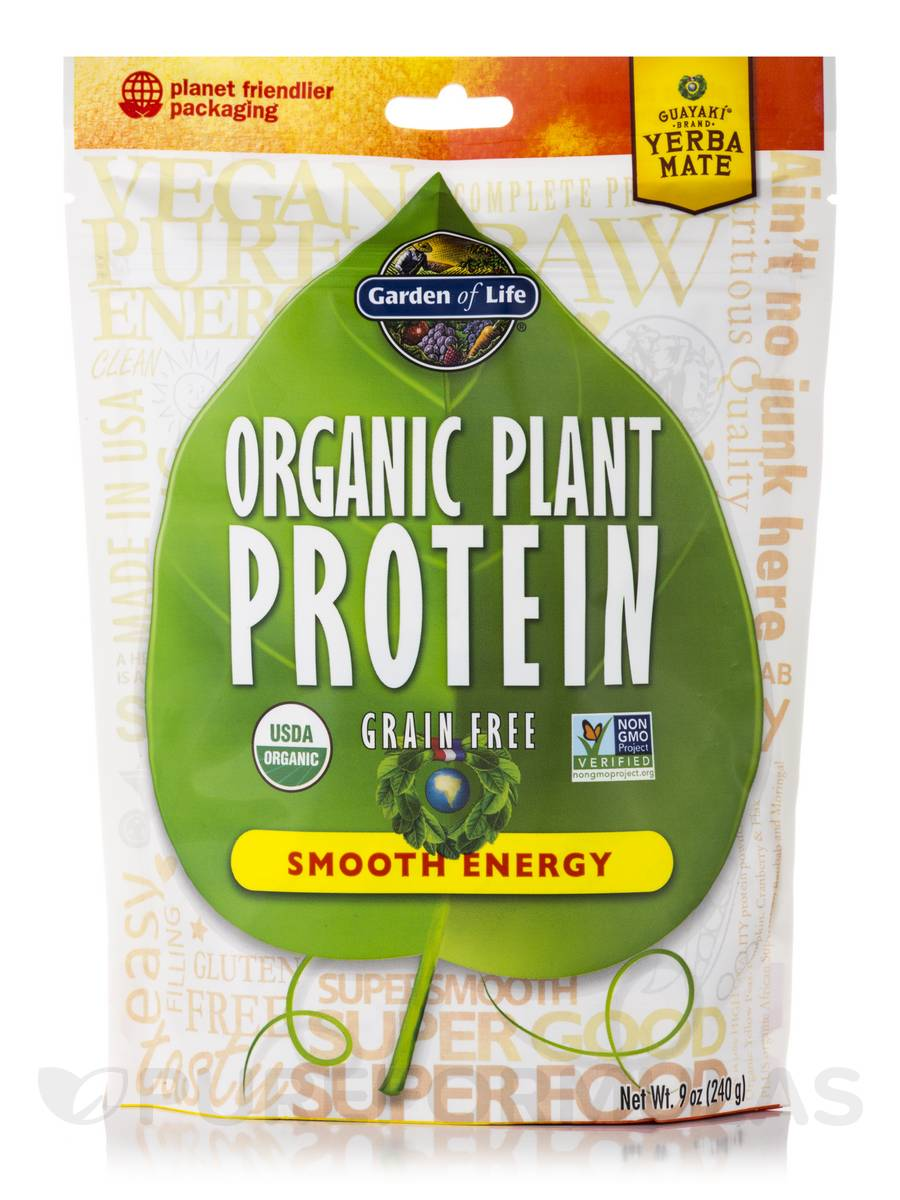 Organic Plant Protein Smooth Energy Powder 9 Oz 240 Grams