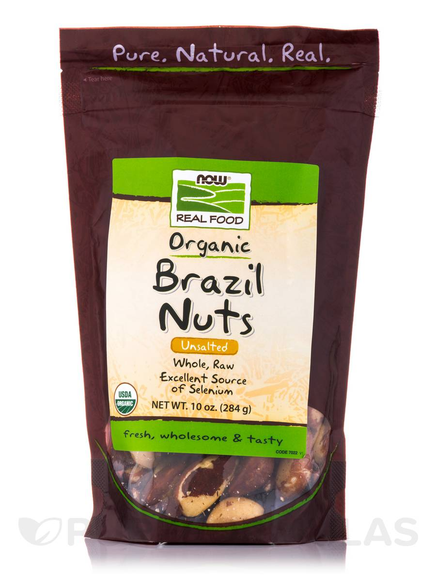 NOW® Real Food - Brazil Nuts (Unsalted, Whole, Raw, Organic) - 10 oz (284 Grams)