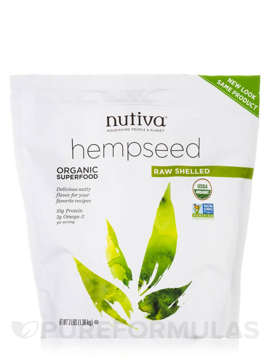 Organic Raw Shelled Hempseed - 3 lbs (1.36 kg)