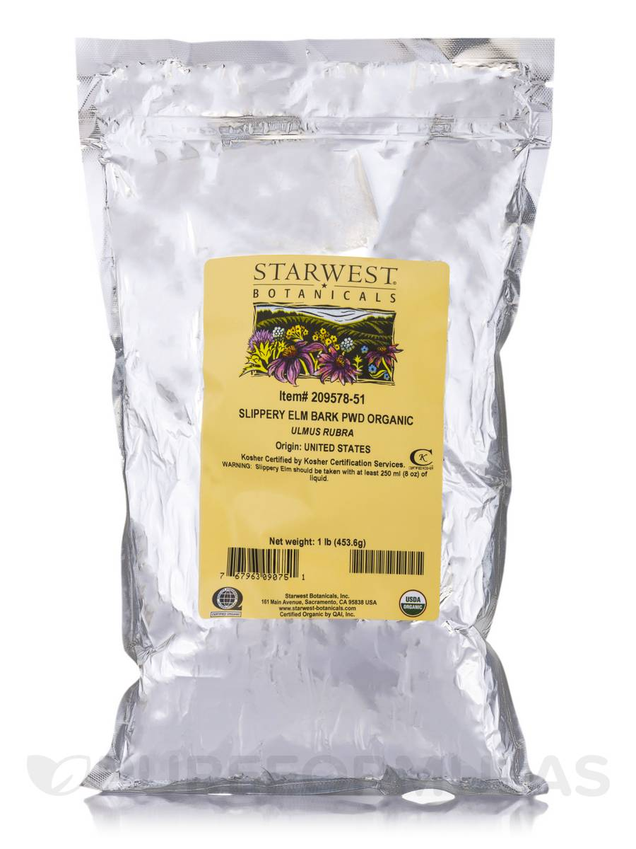Organic Slippery Elm Bark Powder - 1 lb (453.6 Grams)