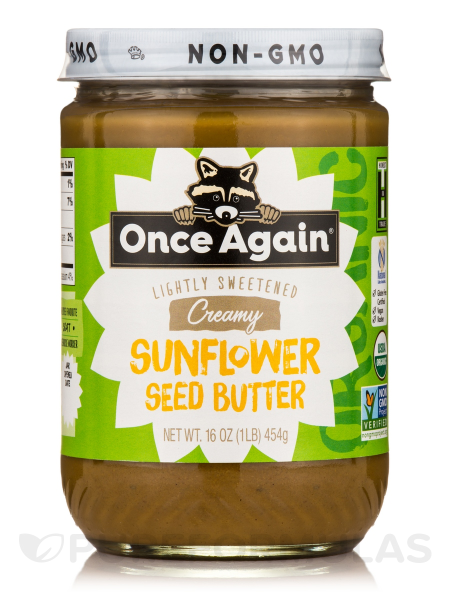 Organic Sunflower Seed Butter - Lightly Sweetened - 16 oz (454 Grams)