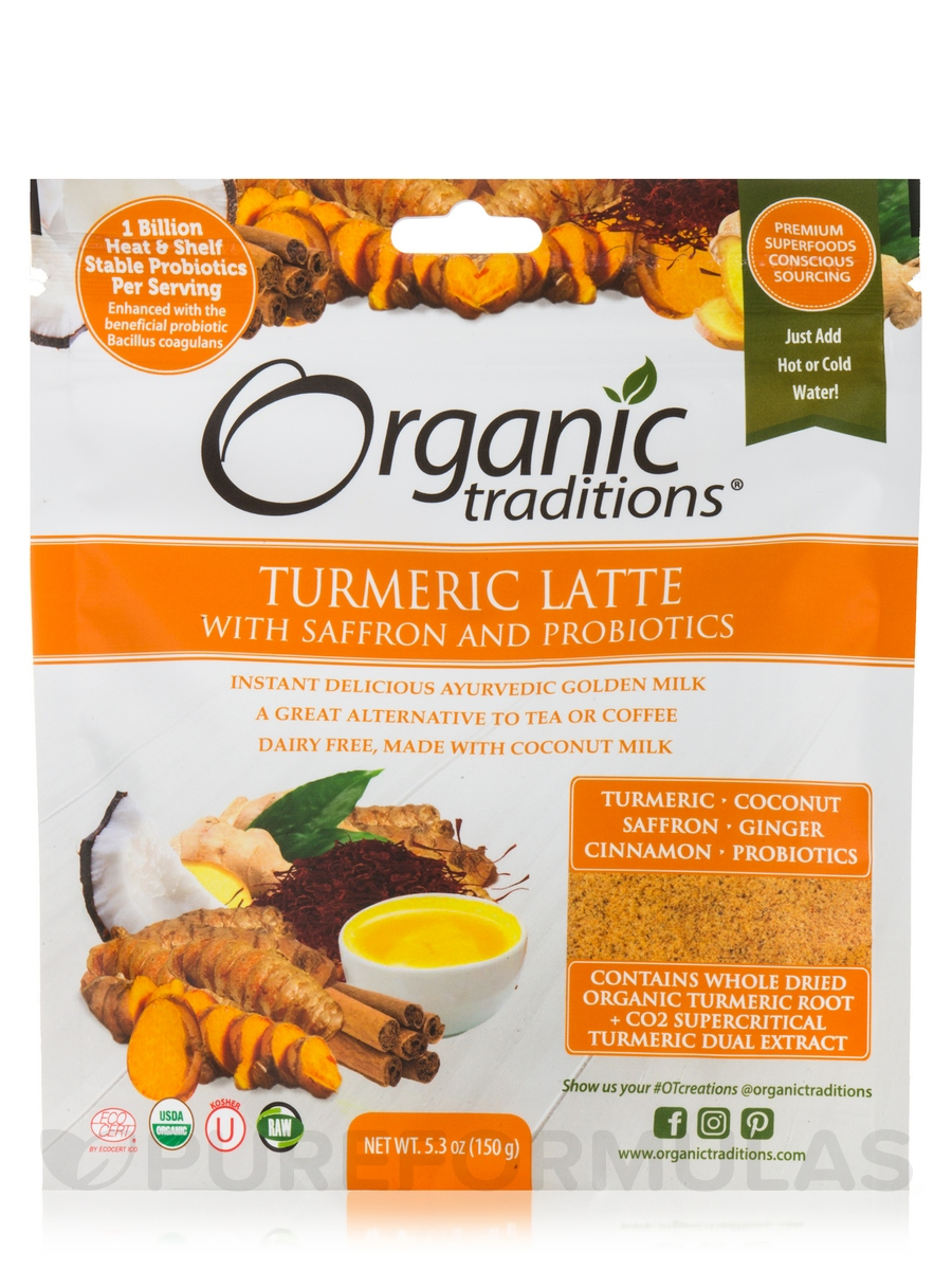 Organic Turmeric Latte with Saffron and Probiotics - 5.3 oz (150 Grams)