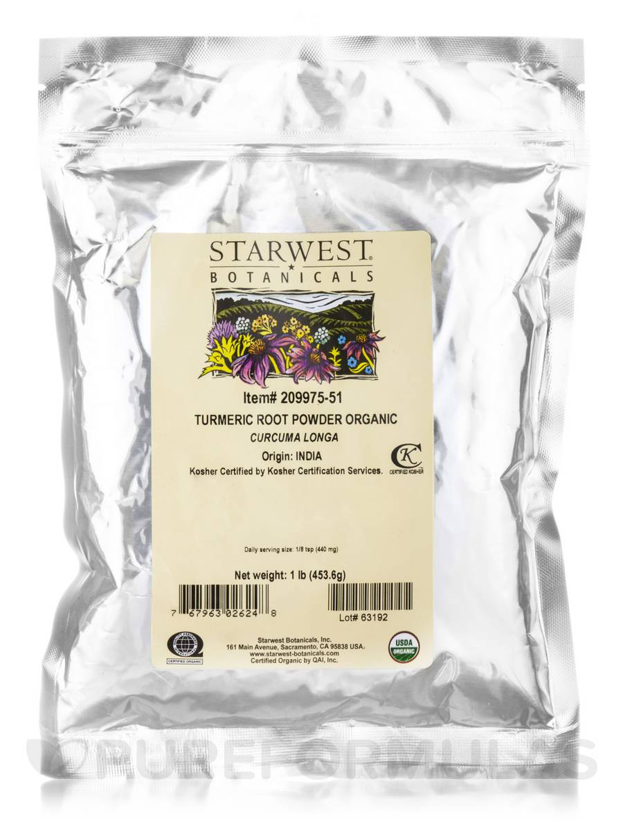 Organic Turmeric Root Powder - 1 lb (453.6 Grams)