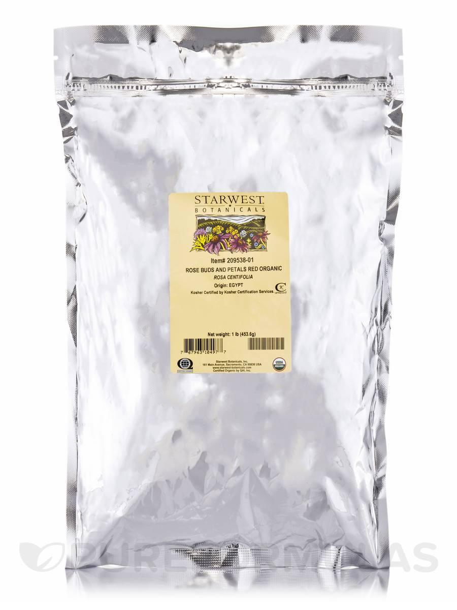 Organic Red Rose Buds & Petals - 1 lb (453.6 Grams)
