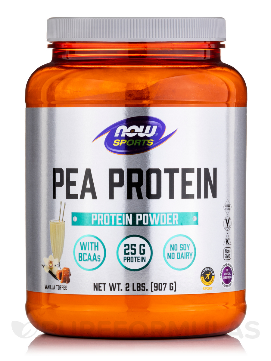 NOW® Sports - Pea Protein, Vanilla Toffee Flavor - 2 lbs (907 Grams)