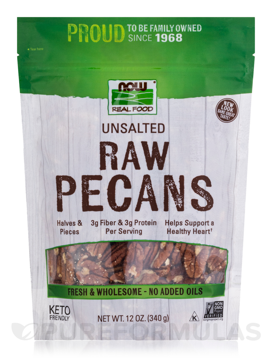 NOW Real Food® - Raw Pecans (Unsalted) - 12 oz (340 Grams)