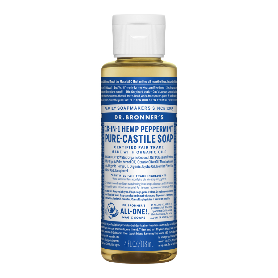 Peppermint Oil Pure Castile Liquid Soap - 4 fl. oz (118 ml)