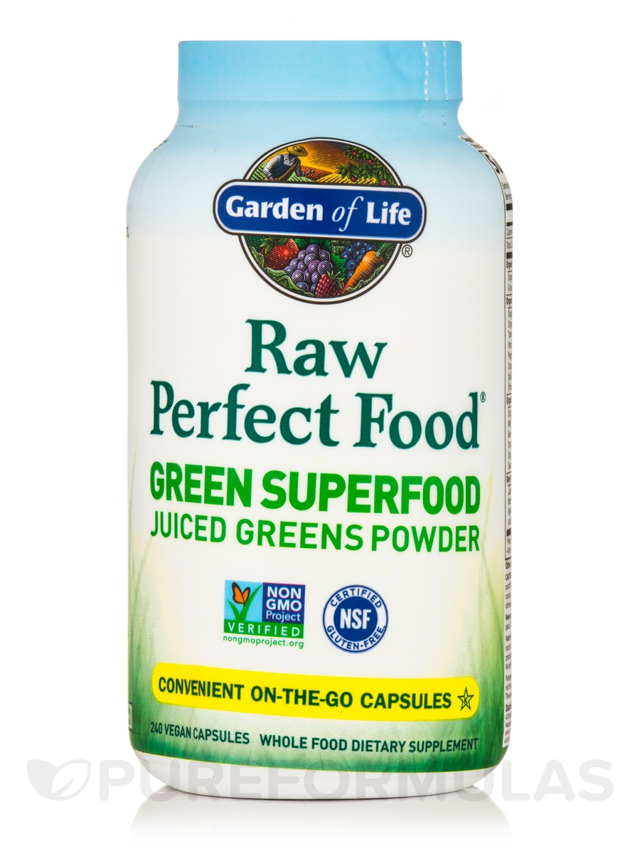 Raw Perfect Food® - Green Superfood Juiced Greens - 240 Vegan Capsules