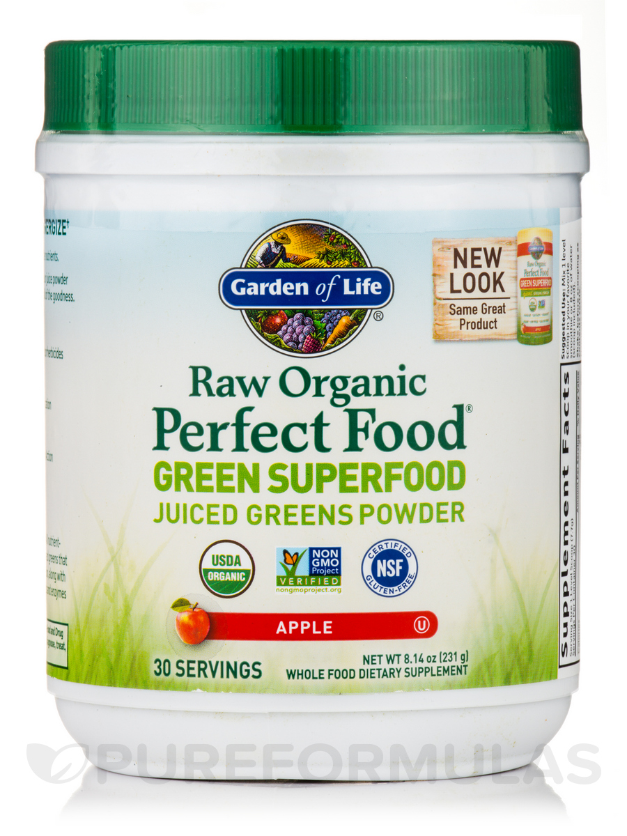 Raw Organic Perfect Food® Green Superfood Powder, Apple Flavor - 8.2 oz (234 Grams)