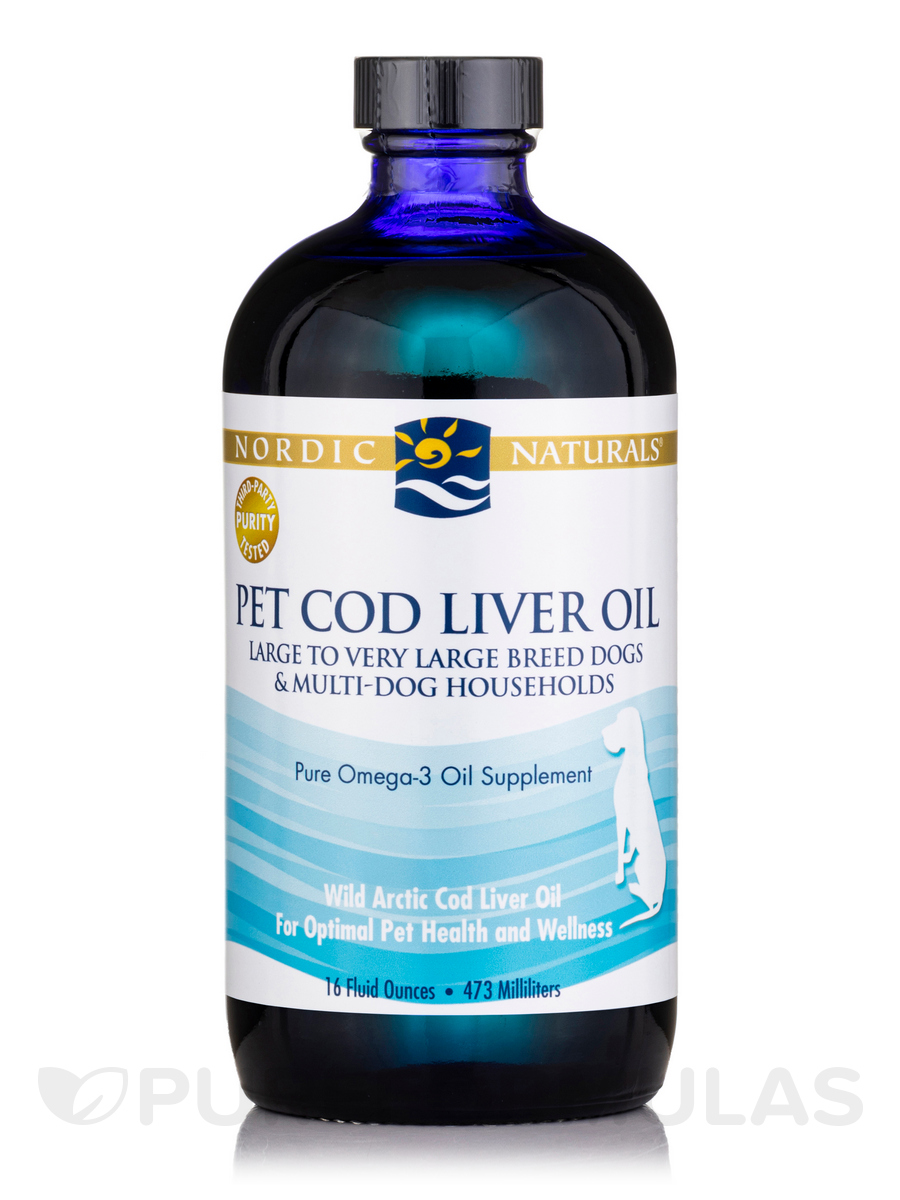 Pet Cod Liver Oil for Large to Very Large Breed Dogs & Multi-Dog Households, Unflavored - 16 fl. oz (473 ml)