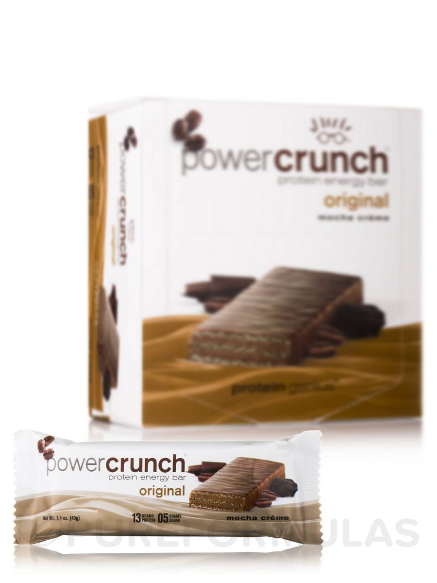 Power Crunch Original Protein Energy Bar, Mocha Crème - Box of 12 Wafer Bars