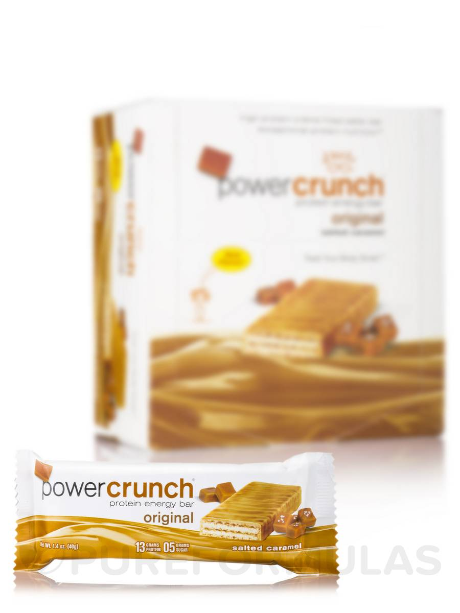 Power Crunch Original Protein Energy Bar, Salted Caramel - Box of 12 Wafer Bars