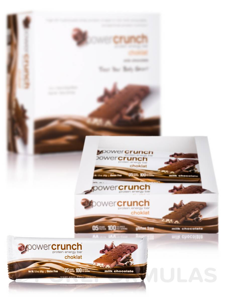 Power Crunch Choklat Protein Energy Bar, Milk Chocolate - Box of 12 Bars