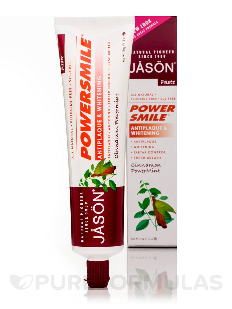 PowerSmile Antiplaque & Whitening Toothpaste Flouride-Free (Cinnamon Powermint) - 6 oz (170 Grams)
