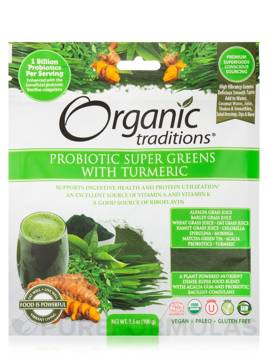Probiotic Super Greens with Turmeric - 3.5 oz (100 Grams)
