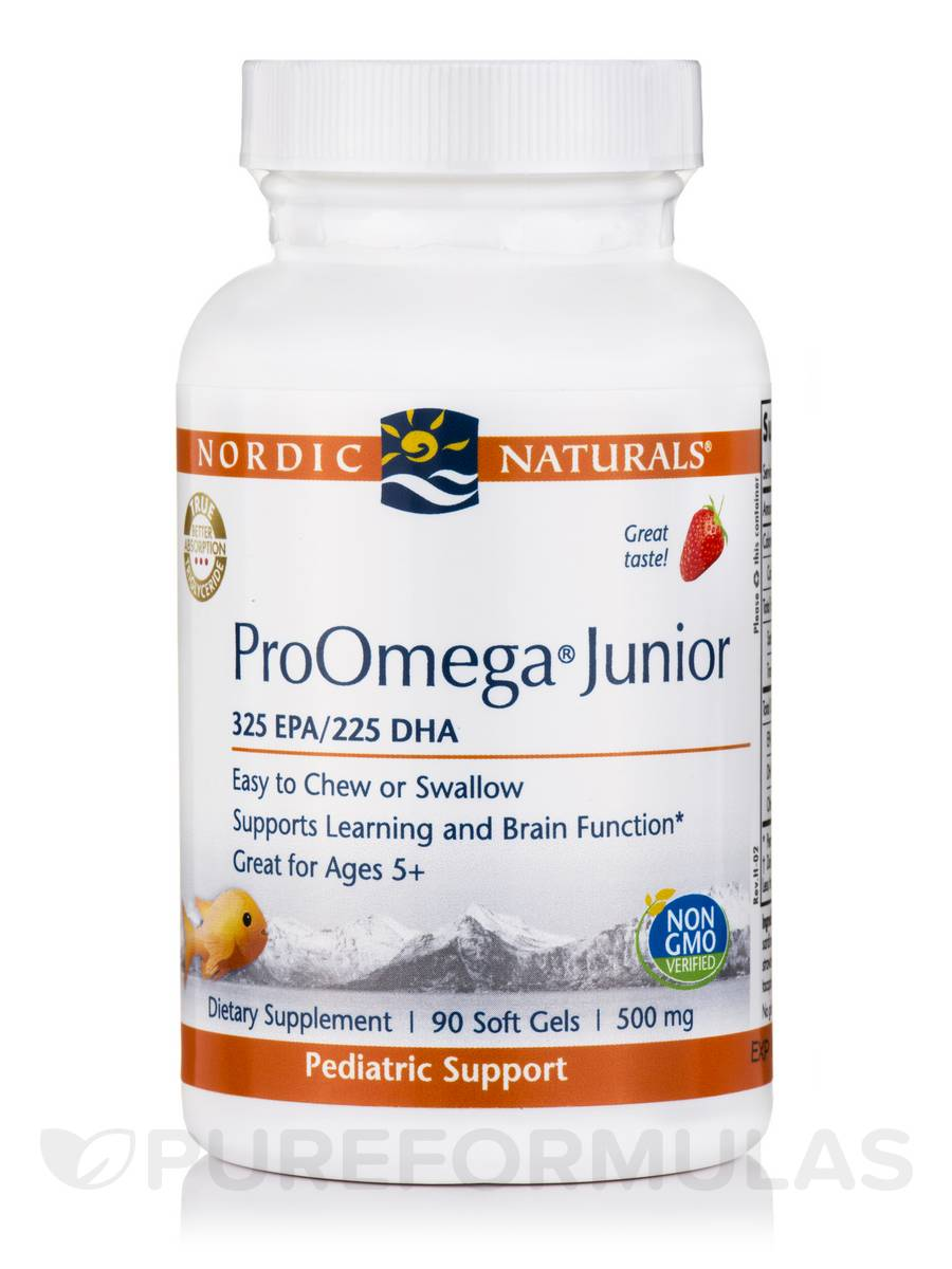 ProOmega® Junior 500 mg, Strawberry Flavor - 90 Soft Gels