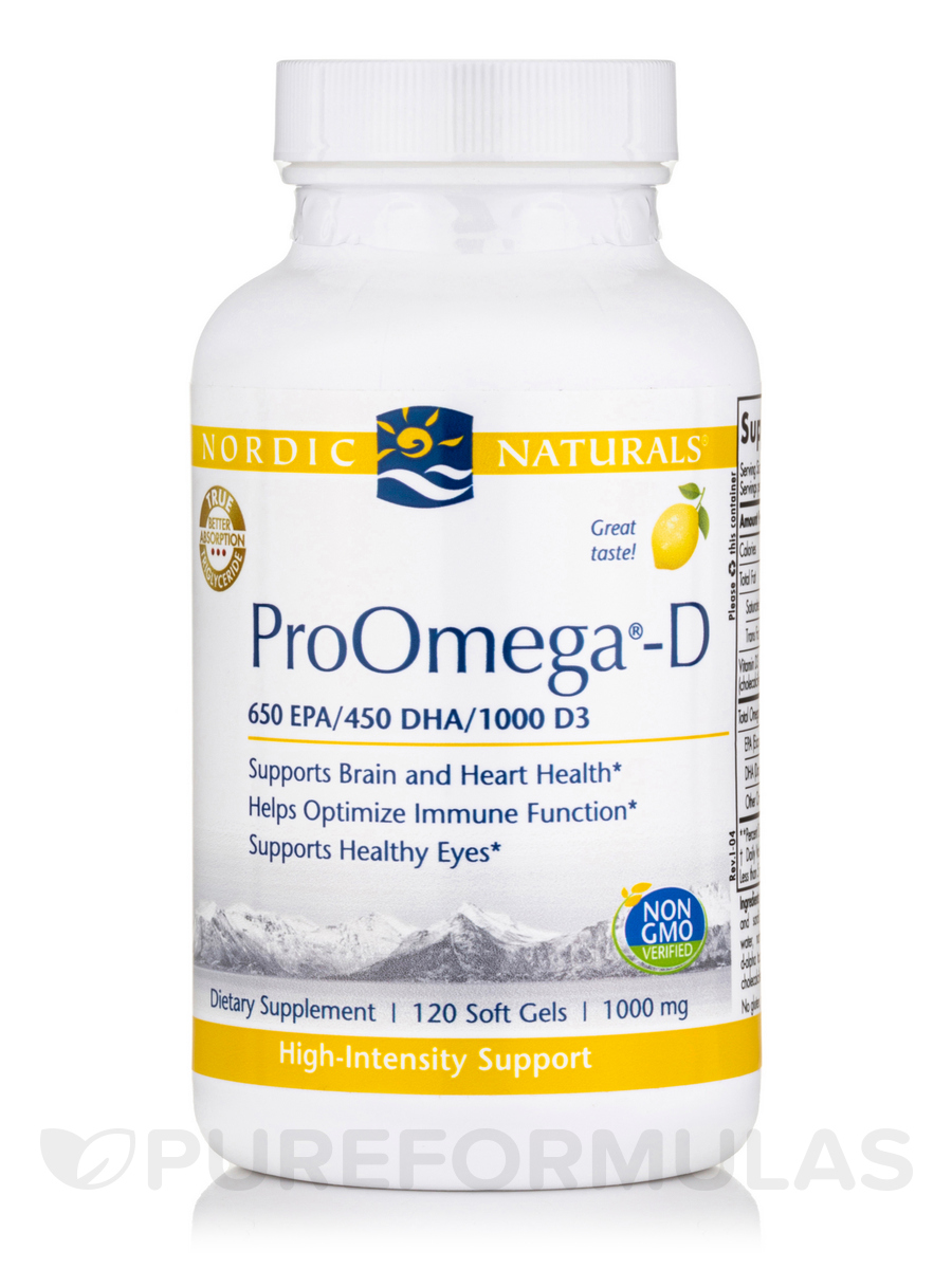 ProOmega®-D 1000 mg, Lemon Flavor - 120 Soft Gels