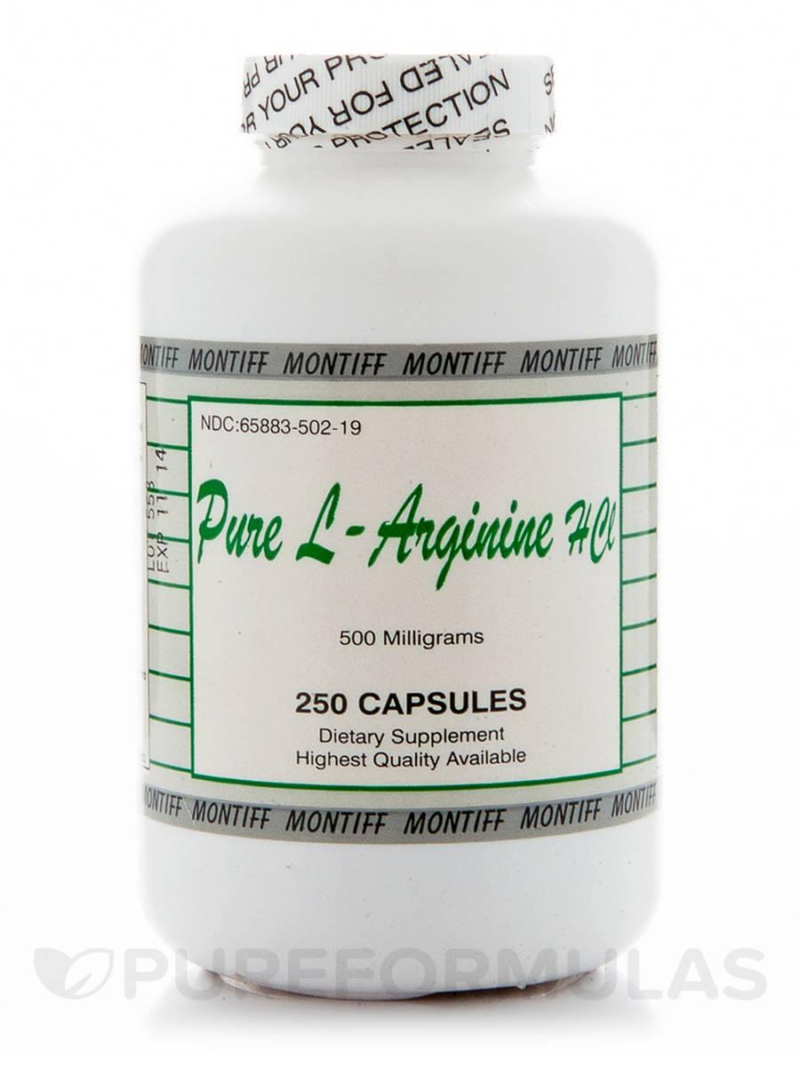 Pure L-Arginine HCl 500 mg - 250 Capsules