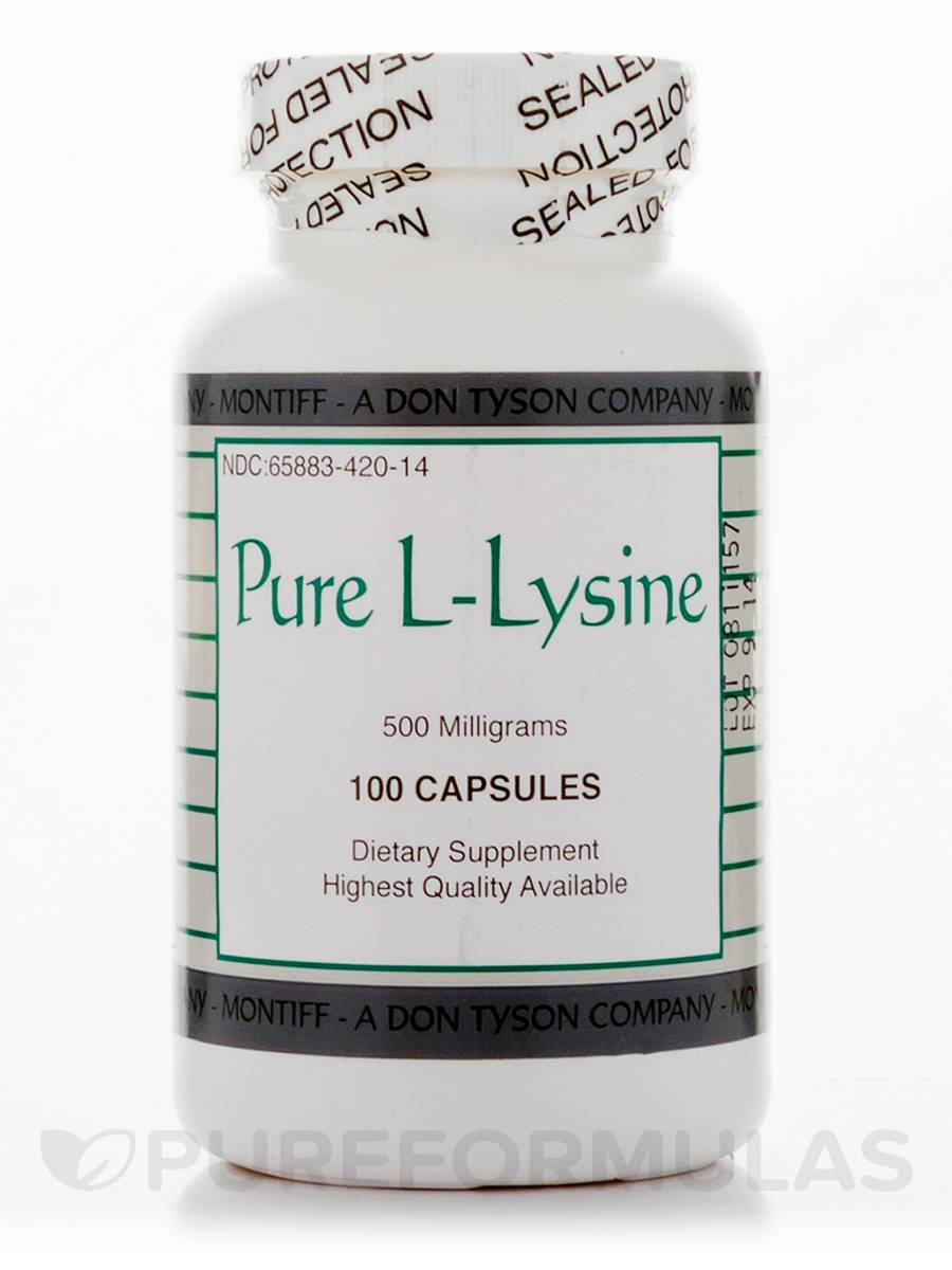 Pure L-Lysine 500 mg - 100 Capsules