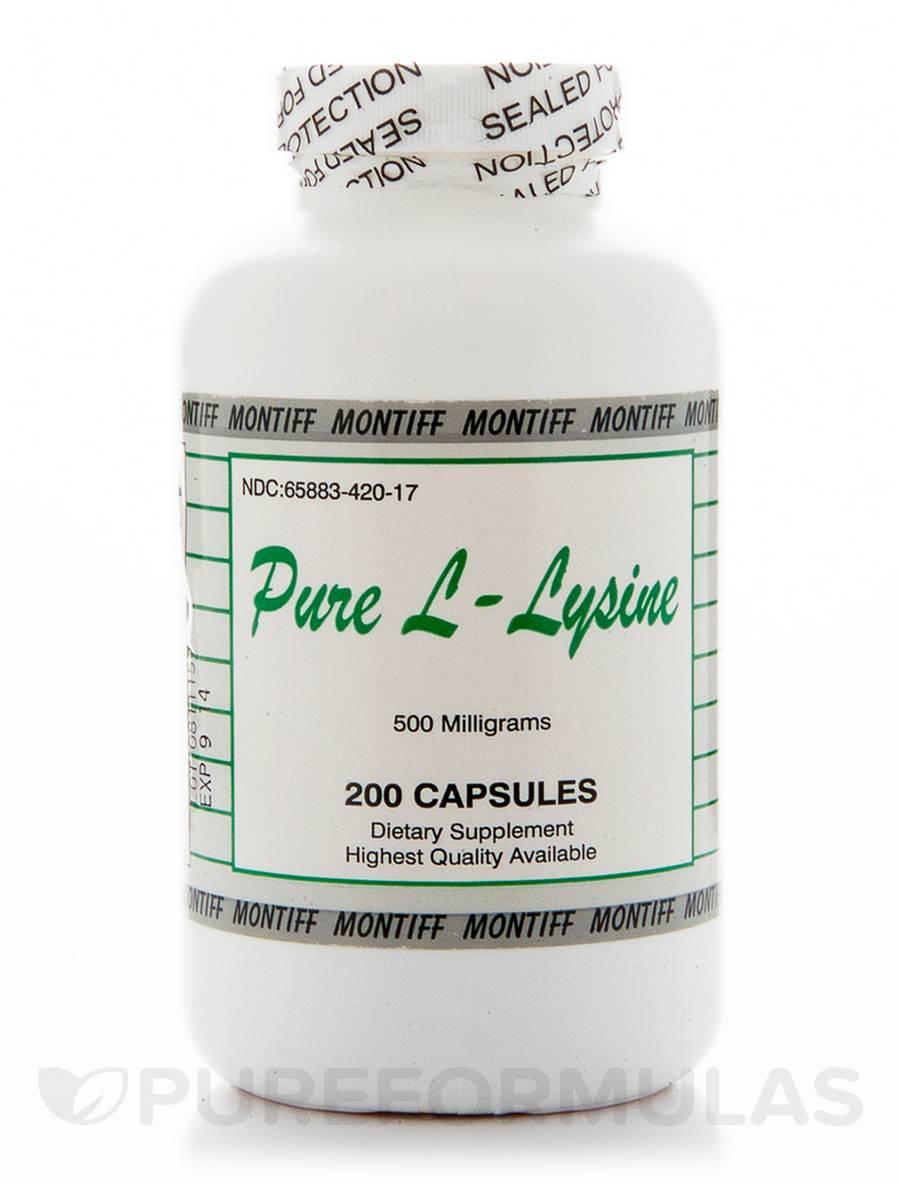 Pure L-Lysine 500 mg - 200 Capsules