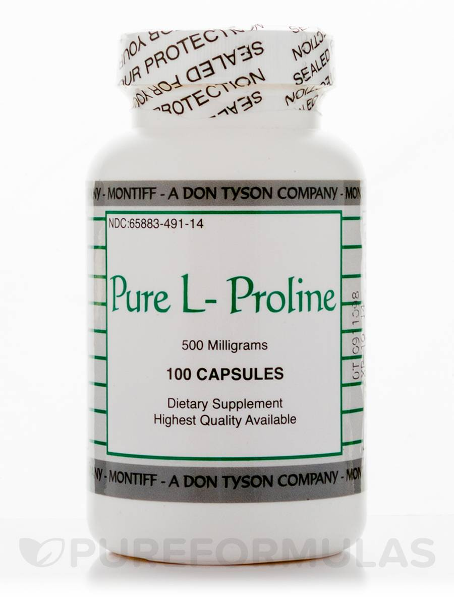 Pure L-Proline 500 mg - 100 Capsules