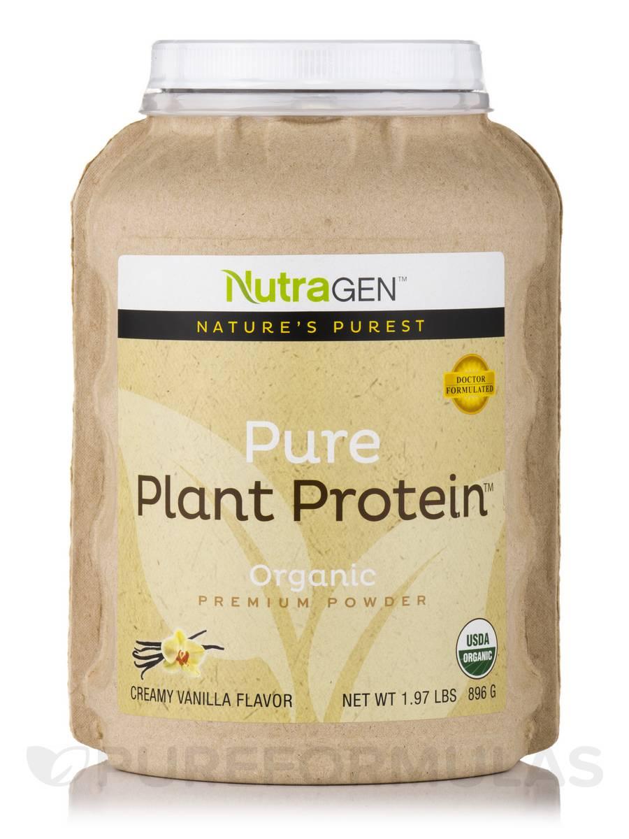 Pure Plant Protein u2122, Organic Premium Powder Creamy Vanilla Flavor 1 97 lbs (896 Grams)