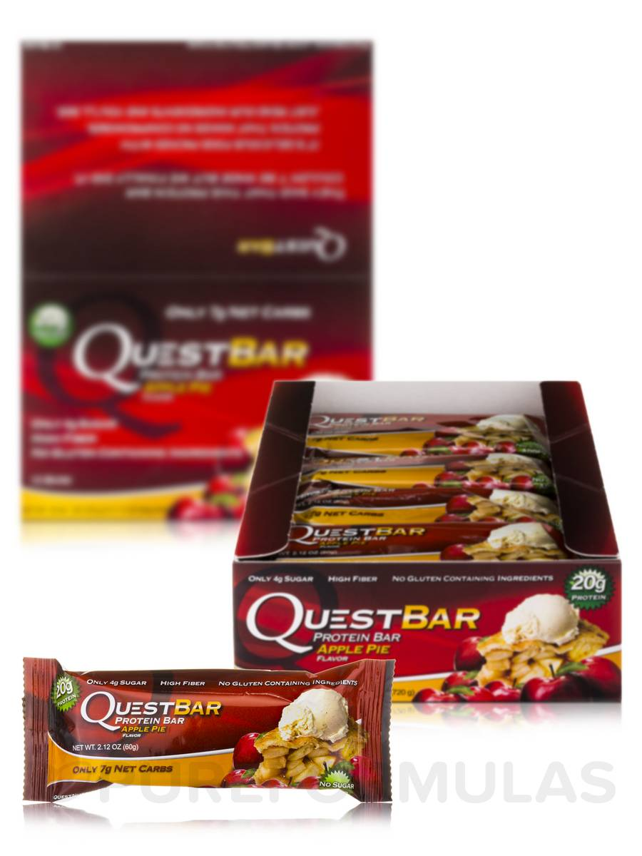 Quest Bar (Apple Pie) - Box of 12 Bars (2.12 oz / 60 Grams Each)