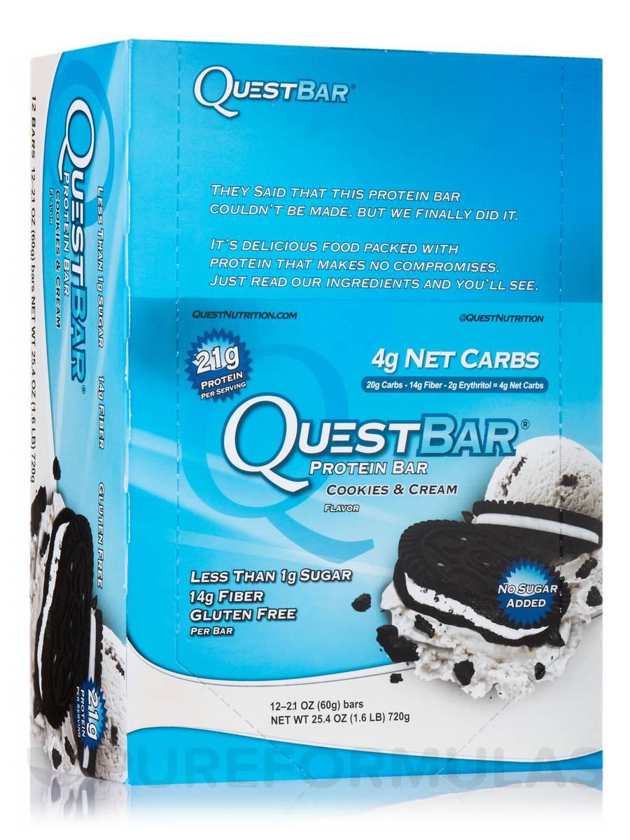 Quest Bar (Cookies & Cream) - Box of 12 Bars (2.1 oz / 60 Grams Each)