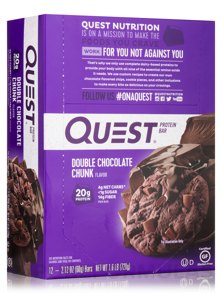 Quest Bar (Double Chocolate Chunk) - Box of 12 Bars (2.1 oz / 60 Grams Each)
