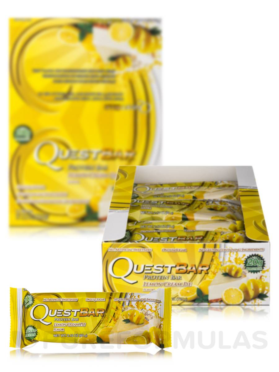 Quest Bar (Lemon Cream Pie) - Box of 12 Bars (2.12 oz / 60 Grams Each)