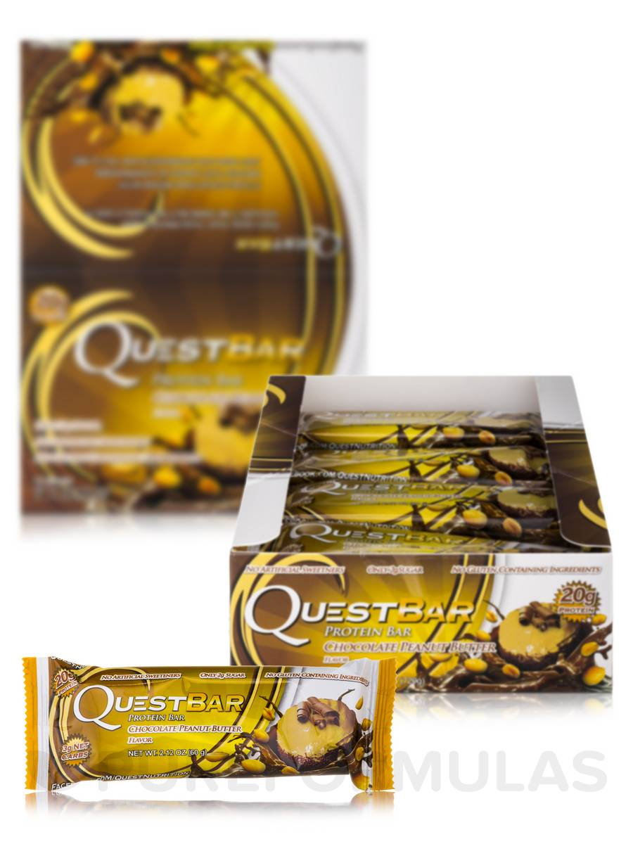 Quest Bar (Chocolate Peanut Butter) - Box of 12 Bars (2.12 oz / 60 Grams Each)