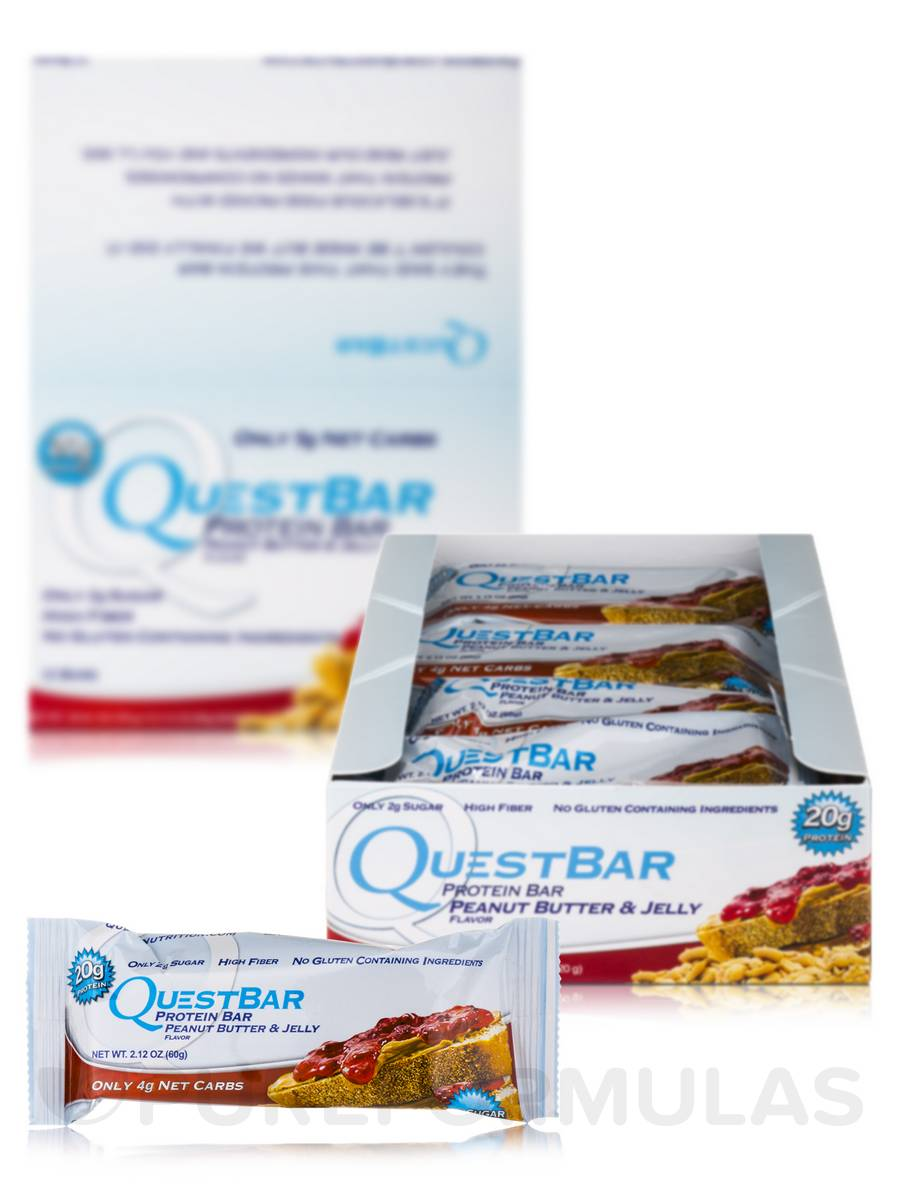 Quest Bar (Peanut Butter & Jelly) - Box of 12 Bars (2.12 oz / 60 Grams Each)