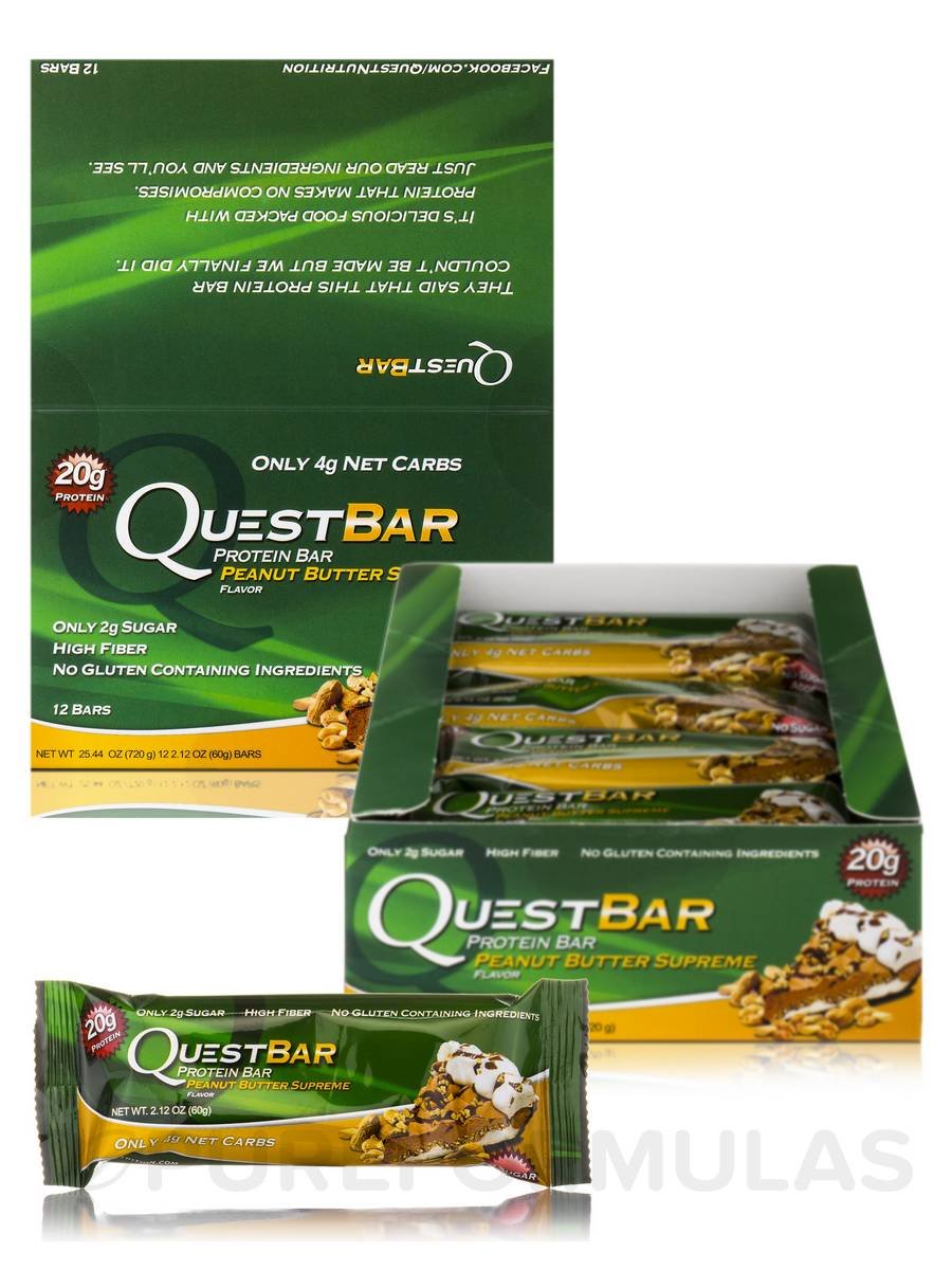 Quest Bar (Peanut Butter Supreme) - Box of 12 Bars (2.12 oz / 60 Grams Each)