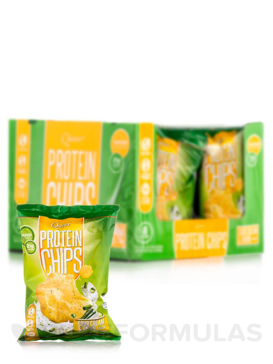Quest Protein Chips, Sour Cream & Onion Flavor - Box of 8 Bags (1 1/8 oz / 32 Grams Each)