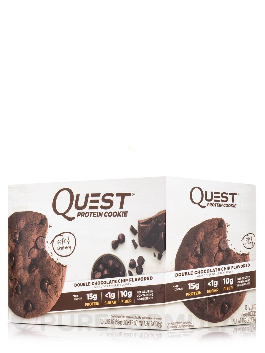 Quest Protein Cookie, Double Chocolate Chip Flavored - Box of 12 Cookies (2.08 oz / 59 Grams Each)