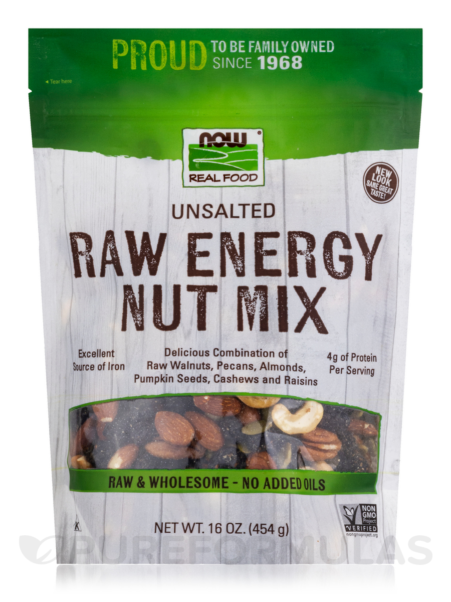 NOW Real Food® - Raw Energy Nut Mix, Unsalted - 16 oz (454 Grams)