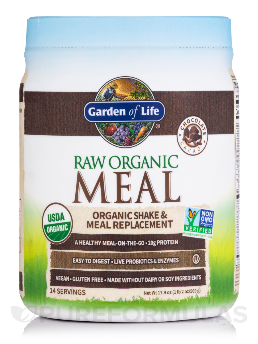 RAW Organic Meal Powder, Chocolate Cacao Flavor - 17.4 oz (493 Grams)