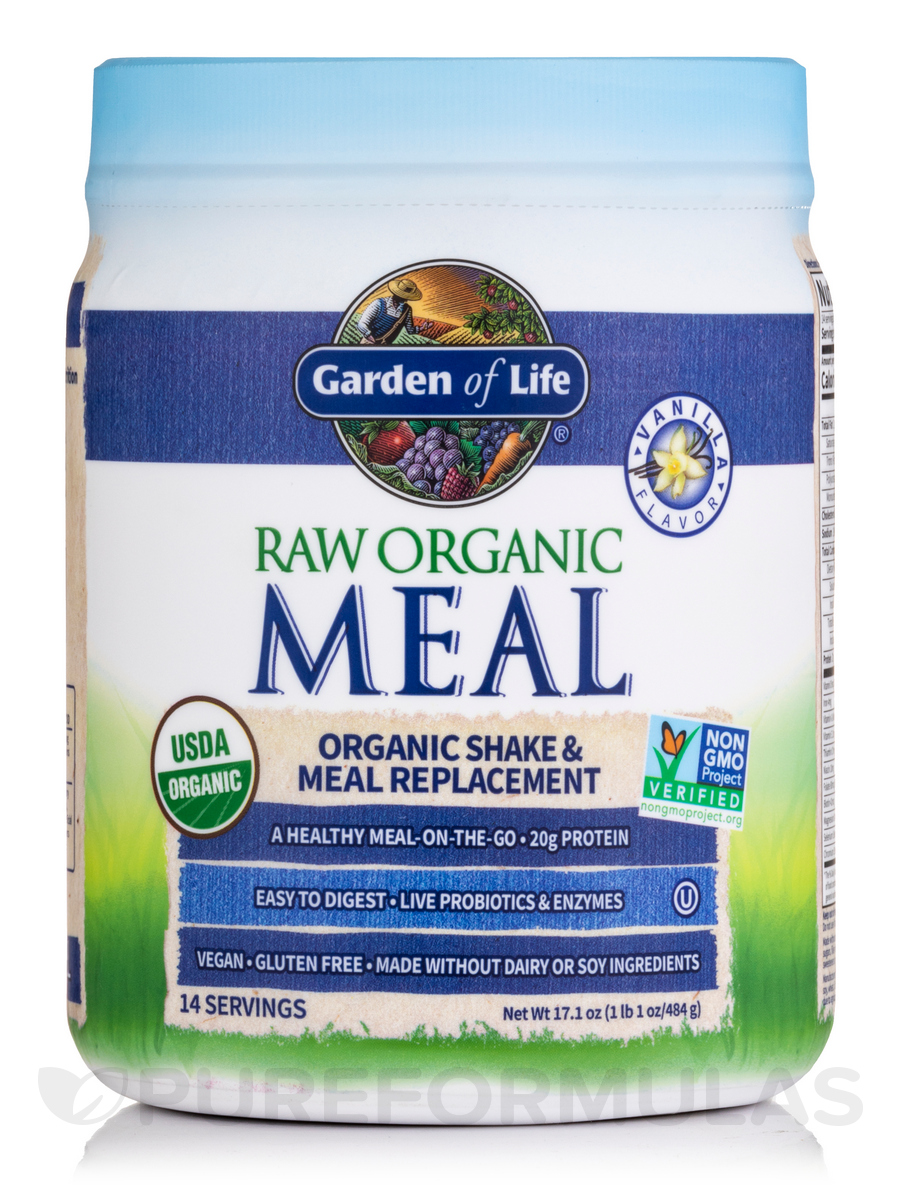 Raw Organic Meal Powder Vanilla Flavor 16 7 Oz 475 Grams