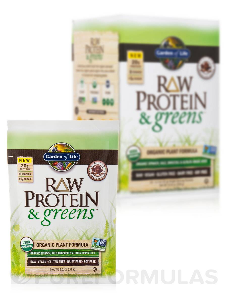 Raw Protein And Greens Chocolate Tray 10 Packets 10 8 Oz 306 Grams